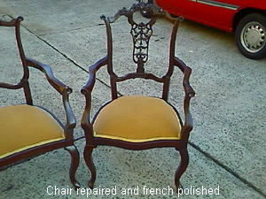 Repaired antique chair